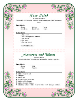 mother s day cookbook template and recipe page by samantha dane tpt