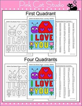 Mother's Day Math Coordinate Graphing - Superhero Mom, Teddy Bear, Ladybug