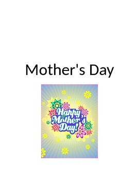 Mother's Day Core Vocabulary like and give with colors