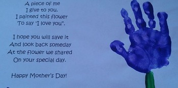 Mother's Day Poem Printable w/Craft Idea