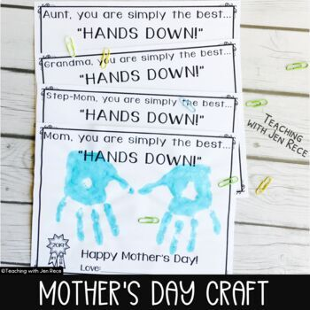 """Mother's Day Craft:Simply the Best...""""Hands Down!""""Grandma/Aunt/Sister/Step-Mom"""