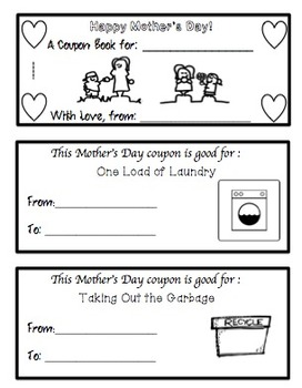 Mother's Day Crafts, Coupon Book, and Card!