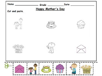 Mother's Day Cut and Paste Activity Worksheets: