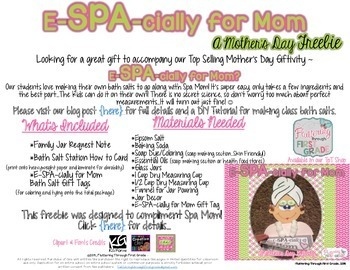 Mother's Day ~ E-SPA-cially for Mom Bath Salt Gift Making Station