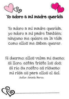 Mothers Day, Fathers Day Poem in Spanish