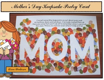 """Free Mother's Day Craft: """"Happy Mother's Day"""" Fingerprint Keepsake Card"""