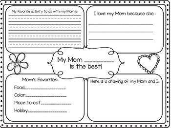 Mother's Day Four Square Writing