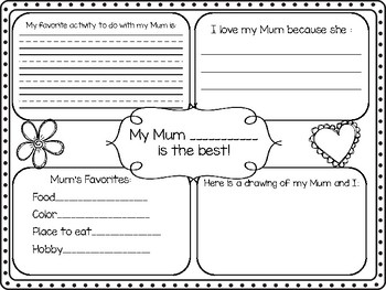 Mothers Day Four Square Writing - New