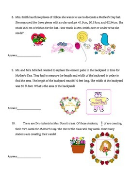 Mother's Day Fractions and Decimals