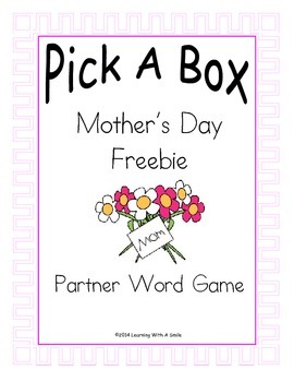 Mother's Day Freebie ~ Partner Game  ~ Pick-A-Box Word Fun