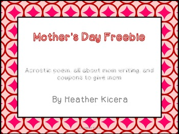 Mother's Day Freebie- all about mom