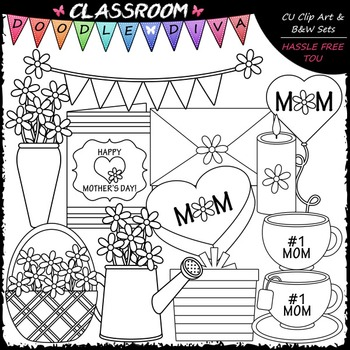 Mother's Day Gifts Clip Art - Mother's Day Clip Art & B&W Set