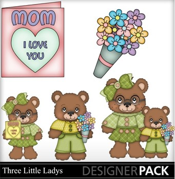 Mothers Day Girl  Bears  Clip Art