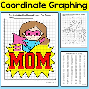 Mother's Day Coordinate Graphing Ordered Pairs Mystery Picture: Superhero Mom