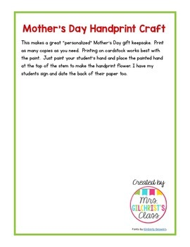 Mother's Day Handprint Craft FREEBIE!