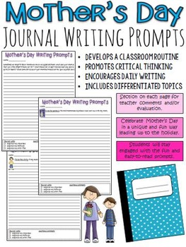 Mother's Day Journal Writing Prompts (activity leading up to the special day)