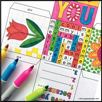 Mothers Day Keepsake Gift Box, card making and wordsearch art activity pack