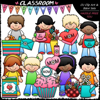 Mother's Day Kids Clip Art - Mother's Day Clip Art & B&W Set