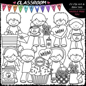 Mother's Day Kids - Clip Art & B&W Set
