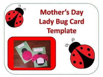 Mother's Day Lady Bug Card Template