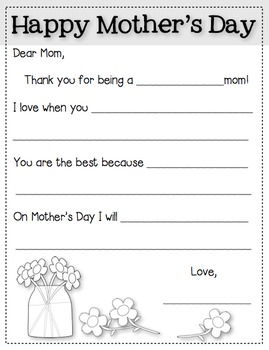 Mother's Day Letters, Cloze Sentence Writing Activity, Primary Grades