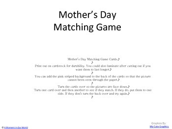 Mother's Day Matching Cards