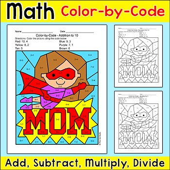 Mother's Day Math Centers - Addition, Subtraction, Multiplication and Division