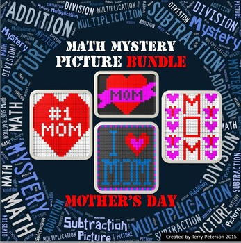 Mother's Day Math Mystery BUNDLE Addition Subtraction Multiplication Division