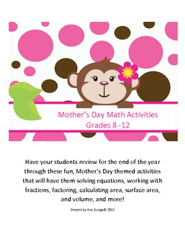 Mother's Day Math: Solving Equations; Finding Surface Area
