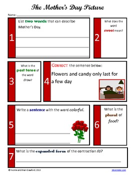 Mother's Day No Prep Math and Literacy Activities Second Grade Common Core
