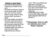Mother's Day Math (budget for a card)
