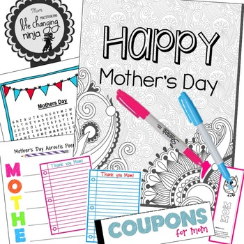 Mother's Day Coloring Pages, Coupon Book, Card, Bookmarks and more