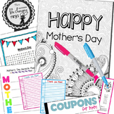 Mother's Day Coloring Pages, Coupon Book, Card, Bookmarks