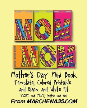 Mother's Day Minibook Kit - Colored Printable, Black & White, Template