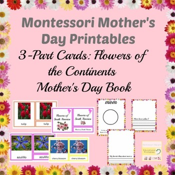 MOTHER'S DAY MONTESSORI FLOWERS EDUCATIONAL MATERIALS WORKSHEETS