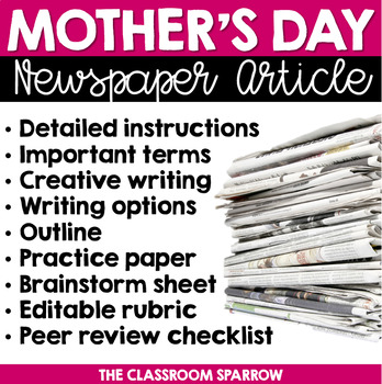 Mother's Day Newspaper Article (writing options, template, & rubric)