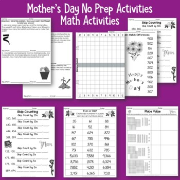 Mothers Day No Prep Printables for Literacy and Math