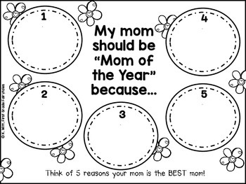 """Mother's Day """"Mom of the Year"""" Persuasive Writing Pack"""