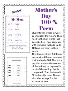 Mother's Day Poem Writing Activity