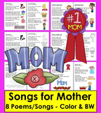 Mother's Day Poems / Songs - Color & B/W - Shared Reading and Fluency