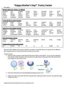 Mother's Day Poetry Project with Poetry Templates, Word Bank, & Rubric