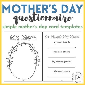 |Kindergarten, 1st Grade, 2nd Grade| Mother's Day Printable Questionnaire
