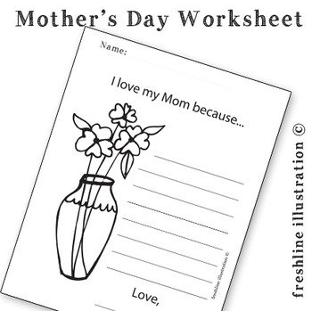 Mother's Day Printable, Worksheet, Coloring Sheet, For Mom, I love Mom Because.
