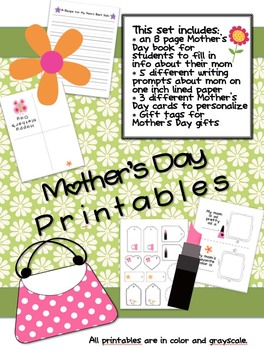 Mother's Day Printables (Mother's Day Book, Writing Prompts,Gift Tags, & Cards)
