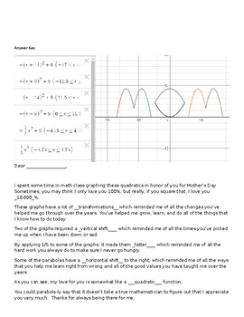 Mothers Day Quadratic Transformation Activity FUN!
