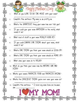 This is a photo of Bright Mother's Day Questionnaire Printable