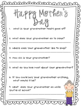 Mother's Day Questionnaire, Survey and Poem ( Grandmother edition)