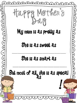 Mother's Day Questionnaire, Survey and Poem (MUM edition)
