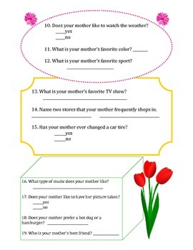 Mother's Day Questionnaire for Students