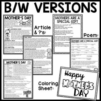 Mother's Day Reading Comprehension Worksheet, Poem, May